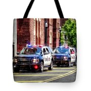 Line Of Police Cars Tote Bag