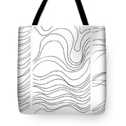 Lines 1-2-3 Black On White Tote Bag