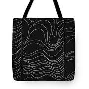 Lines 1-2-3 White On Black Tote Bag
