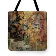 Lion And Lamb Collage Tote Bag