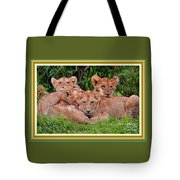 Lion Cubs. L A With Decorative Ornate Printed Frame. Tote Bag