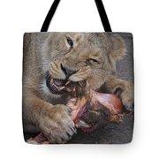 Lion Eating Tote Bag