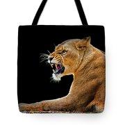 Lion On Black Tote Bag