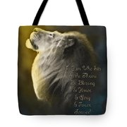 Lion On The Throne In Aqua Tote Bag by Constance Woods