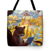 Lion Reading Tote Bag