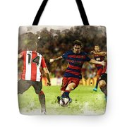 Lionel Messi Challenges The Athletic Bilbao Defense Tote Bag