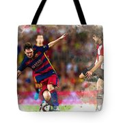 Lionel Messi  Fights For The Ball Tote Bag