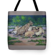 Lioness With Cubs Tote Bag