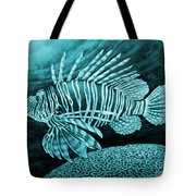 Lionfish On Blue Tote Bag