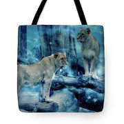 Lions Of The Mist Tote Bag