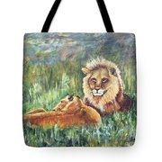Lions Resting Tote Bag