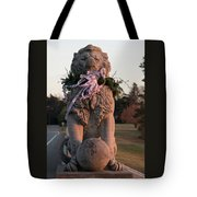 Lions Statue With Ribbon Tote Bag