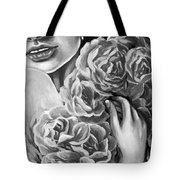 Lips Of Love Black And White Tote Bag