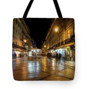 Lisbon Portugal Night Magic - Nighttime Shopping In Baixa Pombalina Tote Bag