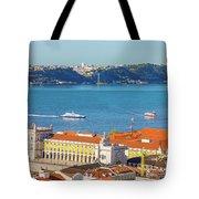 Lisbon Tagus River Skyline Tote Bag