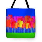 Lisse - Tulips Blue On Green Tote Bag