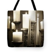 Lit Church Candles Tote Bag