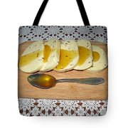 Lithuanian National Food. Cottage Cheese With Honey. Tote Bag