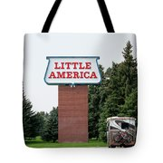 Little America Hotel Signage Vertical Tote Bag