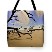 Little Blue And Driftwood Beach Tote Bag by Lisa Wooten