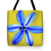 Little Blue Flower On A Yellow Background Tote Bag