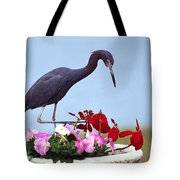 Little Blue Heron In Flower Pot Tote Bag