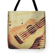 Little Carved Guitar On Sheet Music Tote Bag