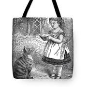 Little Girl Gives Her Cat Its Dinner Tote Bag