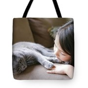 Little Girl Hanging Out With Her Scottish Fold Cat Tote Bag