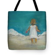 Little Girl Playing On Beach Tote Bag