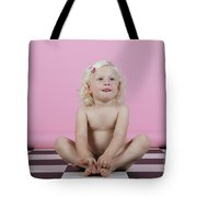 Little Girl Sits On A Checkered Floor Tote Bag