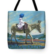 Little Girl With A Blue Bonnet Tote Bag