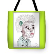 Little Girl With A Green Bow Tote Bag