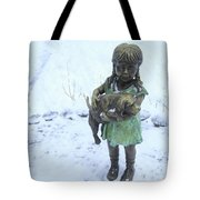 Little Girl With A Puppy In Her Arms. Tote Bag