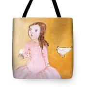 Little Girl With Her Hen Tote Bag