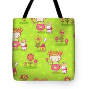 Little Girl With Her Rabbit On A Green Field Tote Bag