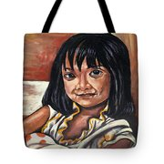 Little Girl With The Orange Pokedots Tote Bag