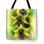 Little Green Apple Orchid On White Tote Bag