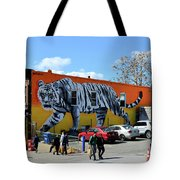 Little India In Jersey City-white Tiger Mural Tote Bag