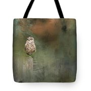 Little Owl On A Fence Tote Bag