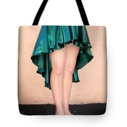 Ameynra Fashion Satin High Low Skirt, Dark-green Tote Bag