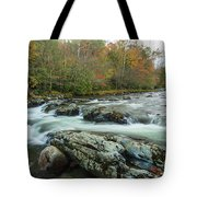 Little Pigeon River In Autumn In Smoky Mountains In Autumn Tote Bag