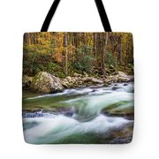 Little Pigeon River In Fall In The Smokies Tote Bag