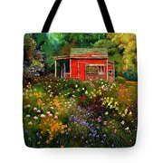 Little Red Flower Shed Tote Bag