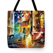 Little Street - Palette Knife Oil Painting On Canvas By Leonid Afremov Tote Bag