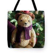 Little Sweet Teddy Bear With Knitted Scarf Under The Christmas Tree Tote Bag