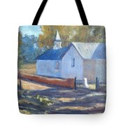 Little White Church In New Mexico Tote Bag