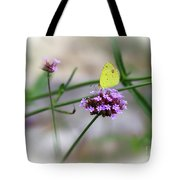 Little Yellow Butterfly On Verbena Tote Bag
