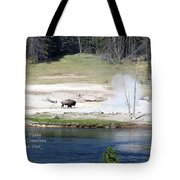 Live Dream Own Yellowstone Park Bison Text Tote Bag