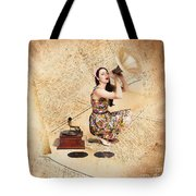Live Music Pinup Singer Performing On Gig Guide Tote Bag